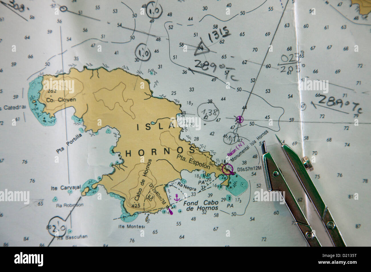 Sea chart aboard cruise ship MS Deutschland, Reederei Peter Deilmann, near Cape Horn, Cape Horn National Park, Magallanes Stock Photo