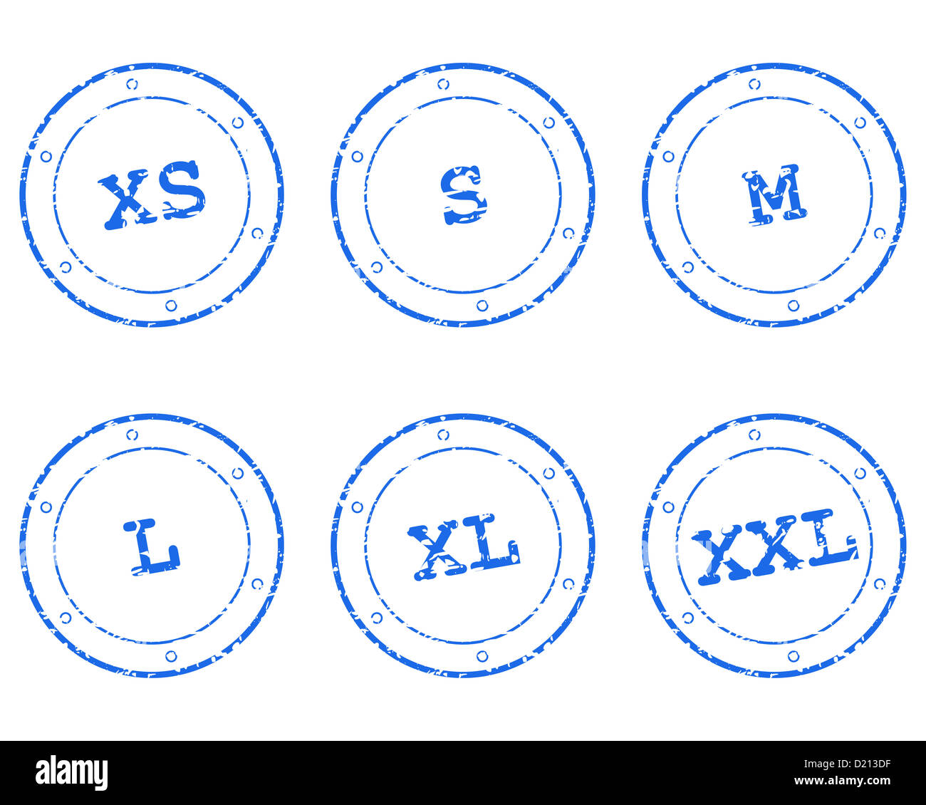 Clothing size stamps Stock Photo