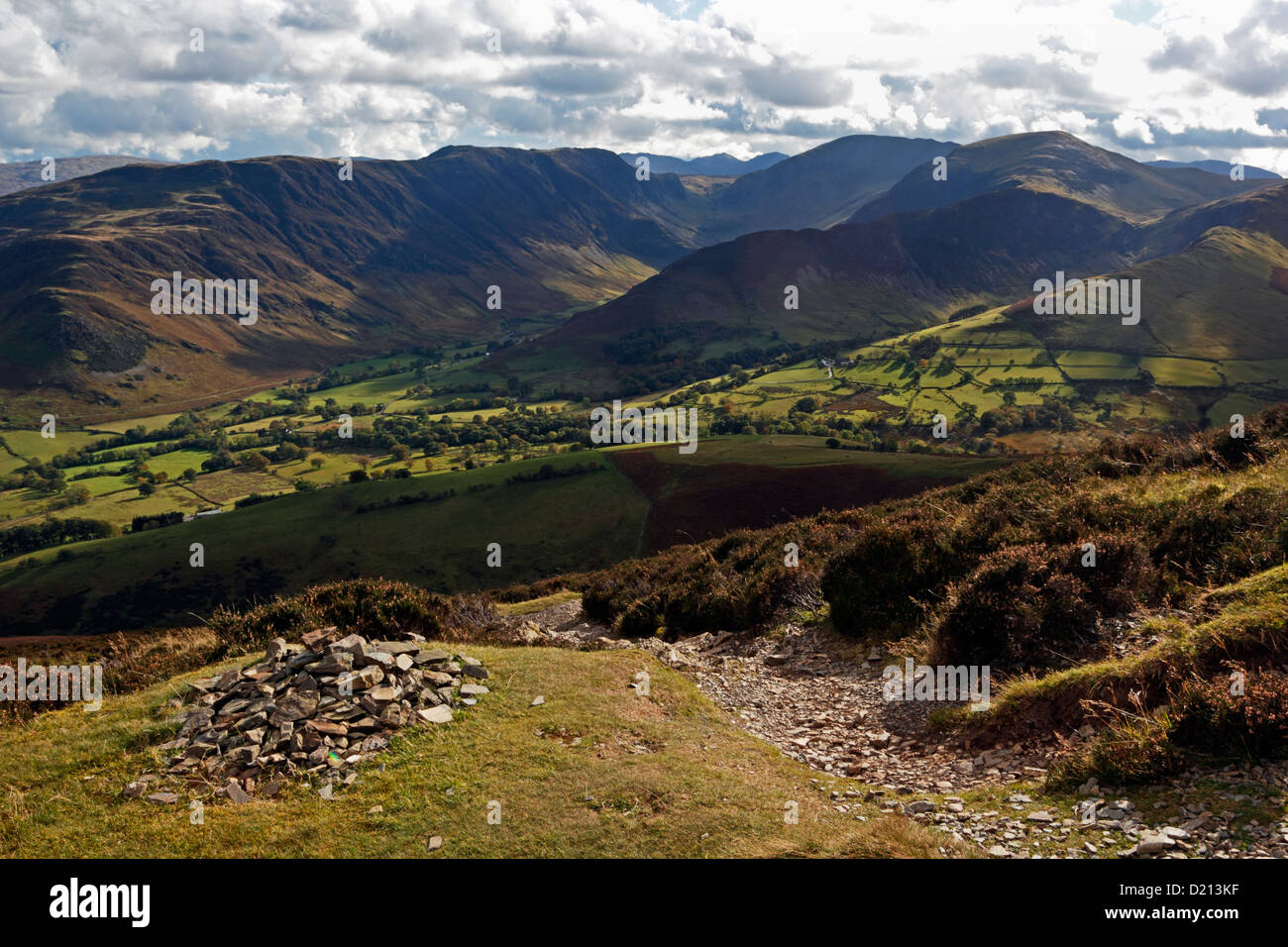 The view over Keskadale from Causey Pike in the Lake District National Park, Cumbria. Stock Photo