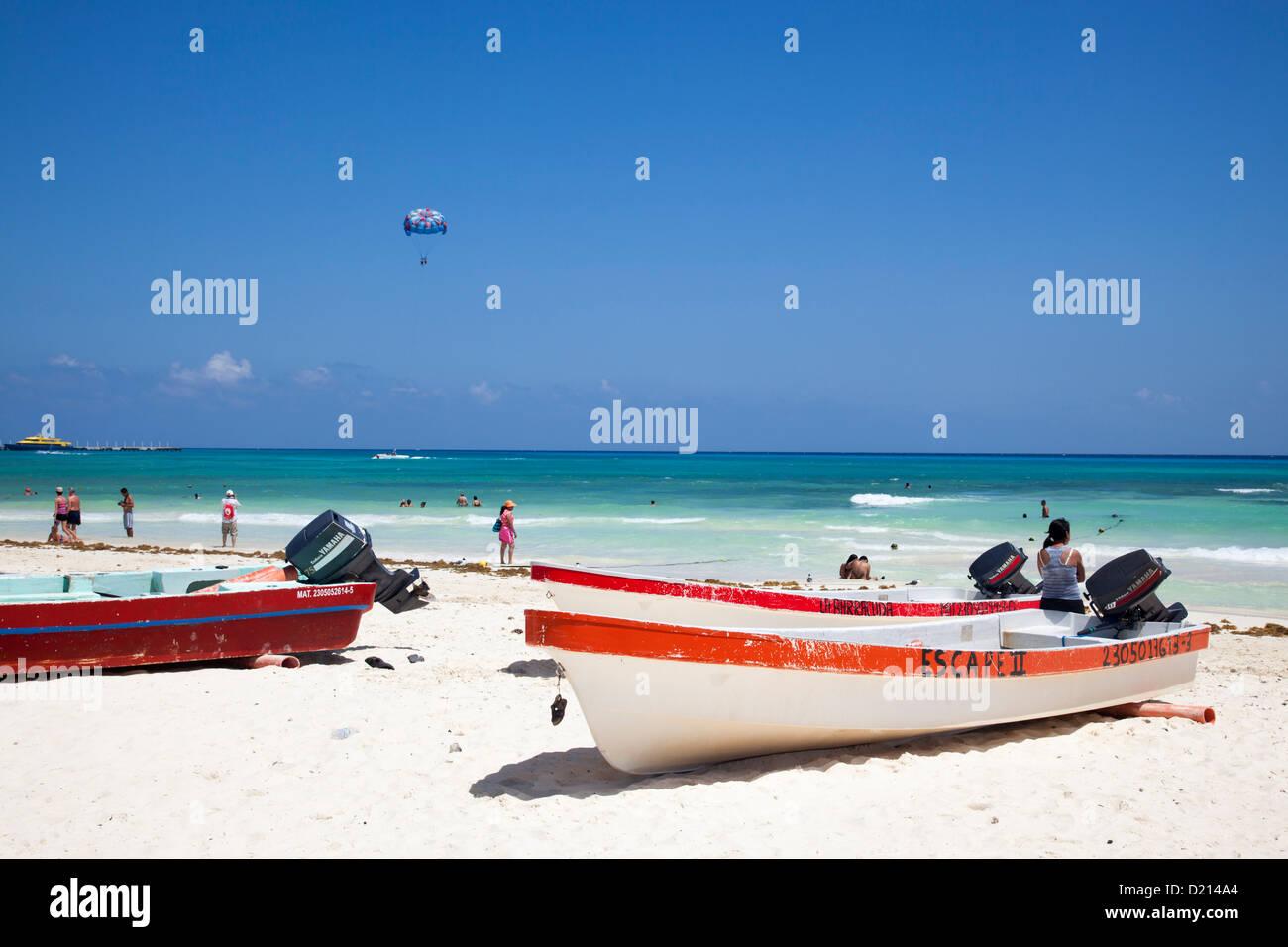 Fishing boats on the beach, Playa del Carmen, Riviera Maya, Quintana Roo, Mexico Stock Photo