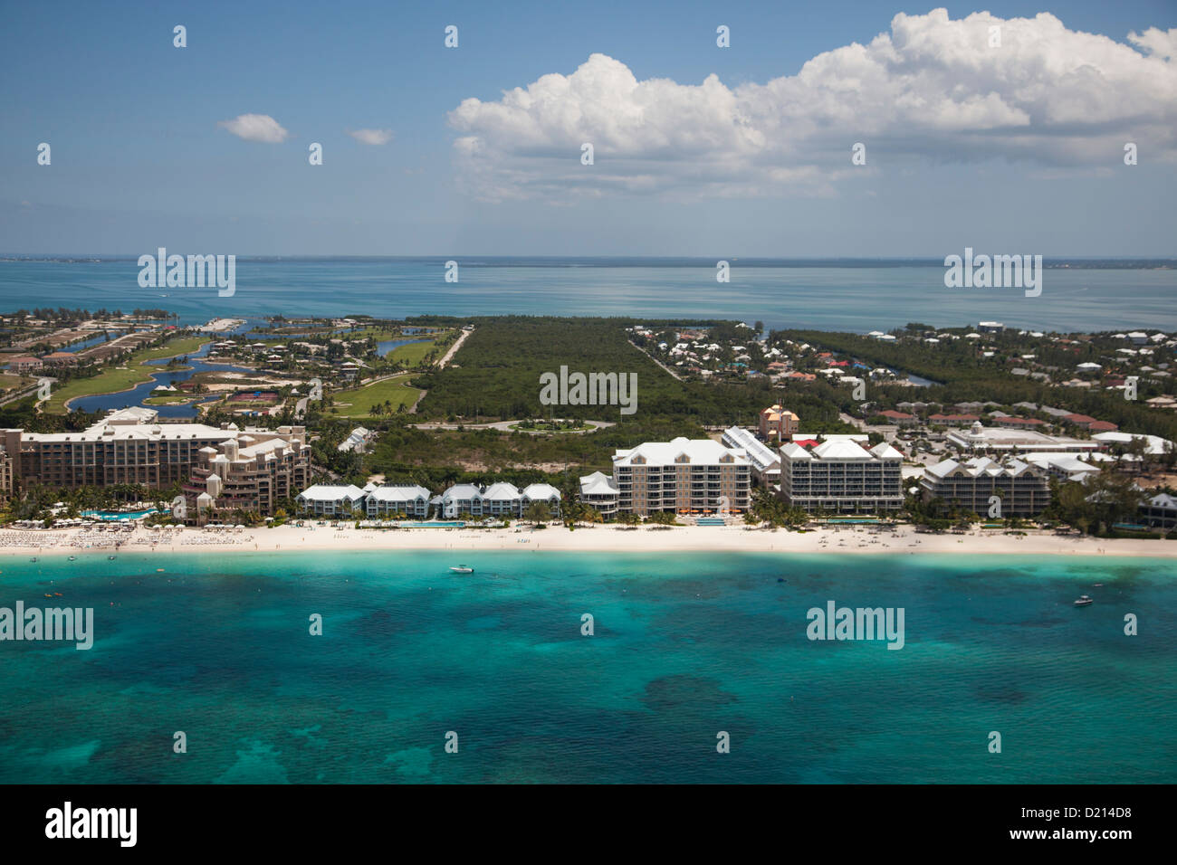 Aerial of hotels along beach, George Town, Grand Cayman, Cayman Islands, Caribbean Stock Photo