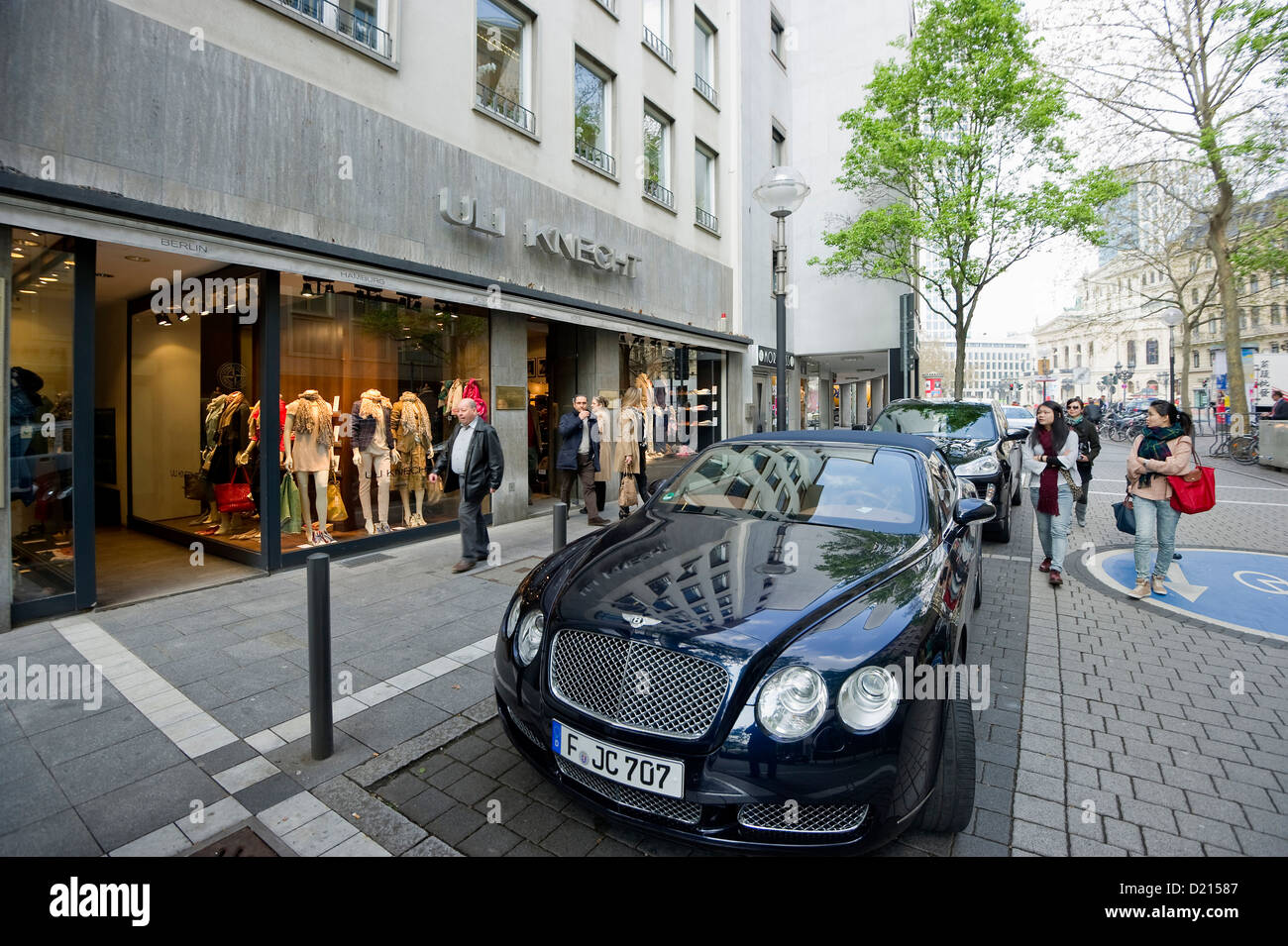 shopping street and luxury cars near alte oper frankfurt hesse stock photo 52886519 alamy. Black Bedroom Furniture Sets. Home Design Ideas