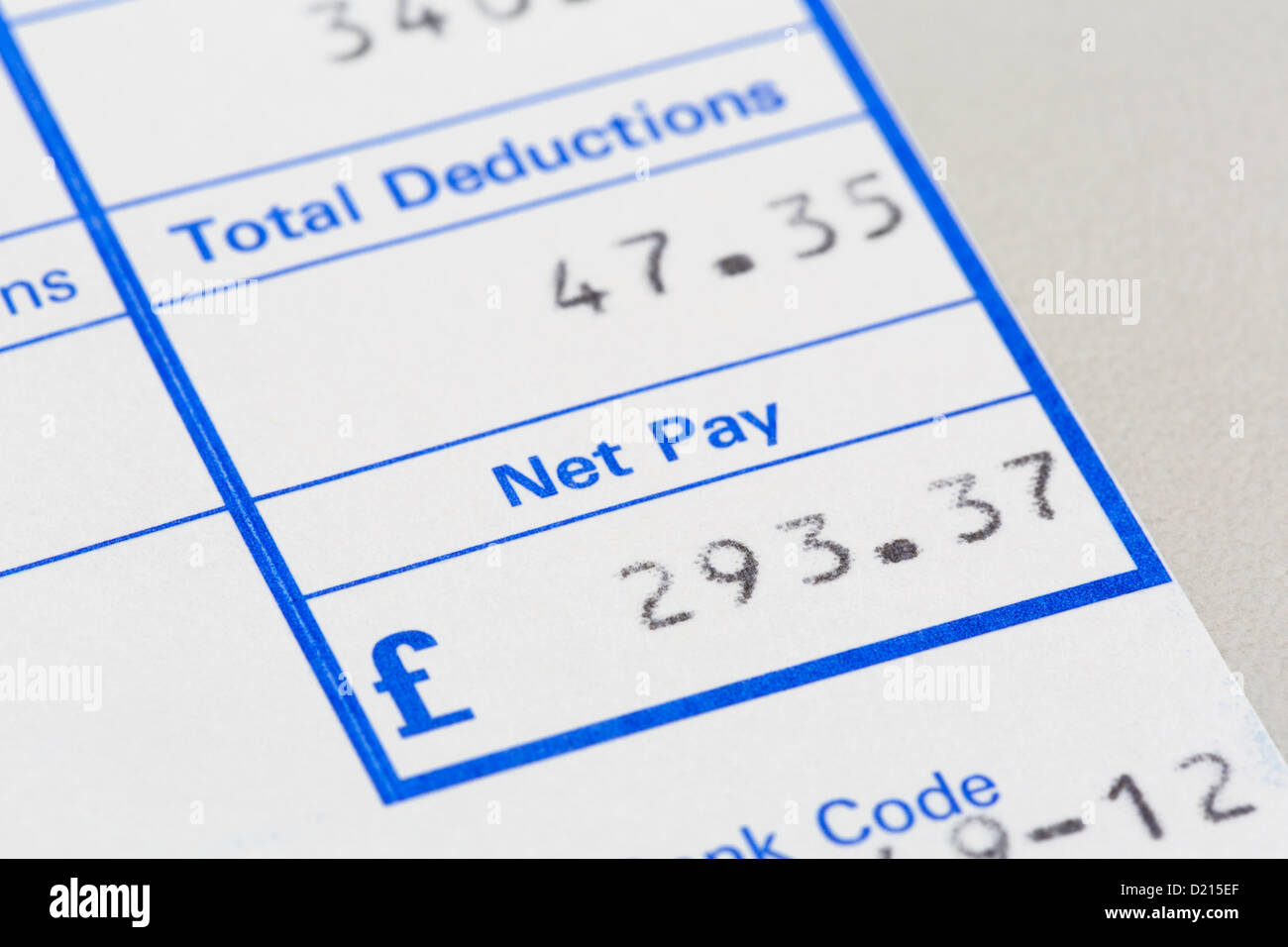 Monthly pay slip for a low paid part-time employee showing a small amount of net pay in pounds sterling after total - Stock Image