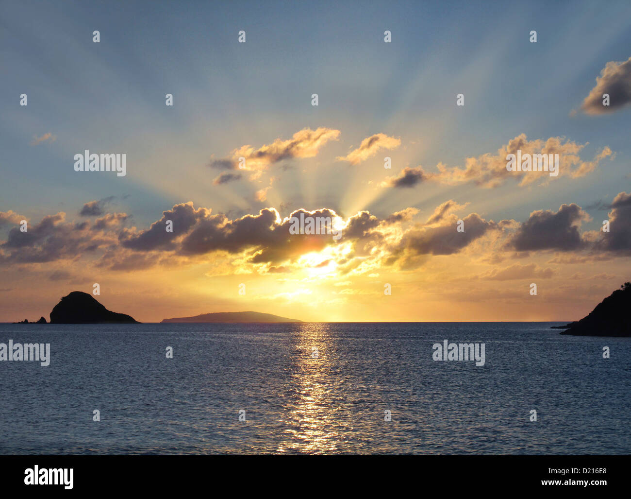 Sunset above the sea, Camarines Norte, Luzon, Philippines, Asia - Stock Image