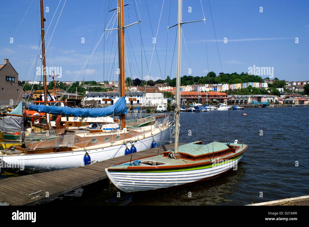 boats moored on floating harbour, bristol. - Stock Image
