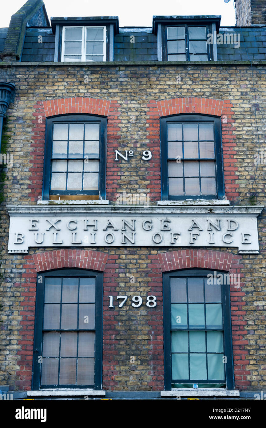No 9 Wardour Street London UK the old Exchange and Bullion Building windows and signs - Stock Image