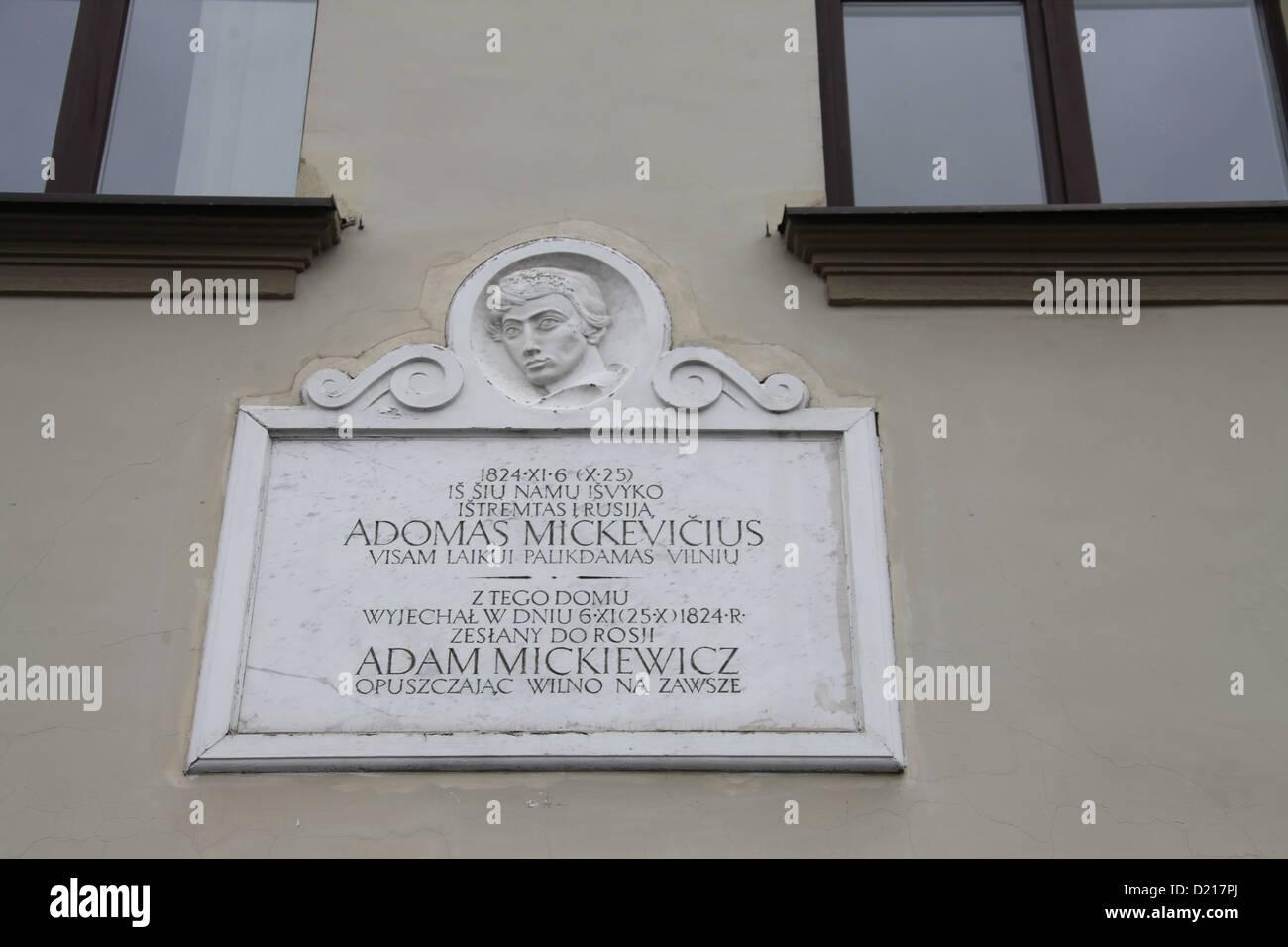 Commemorative Plaque in Vilnius Stock Photo