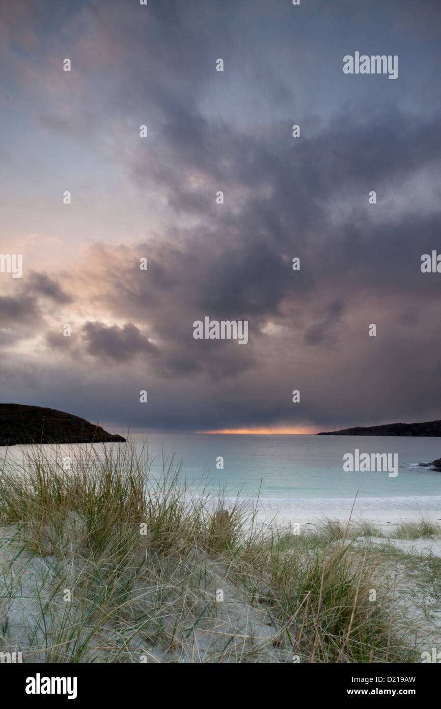 Sand dunes beside the beach at Achmelvich near Lochinver in Sutherland, Scotland. - Stock Image