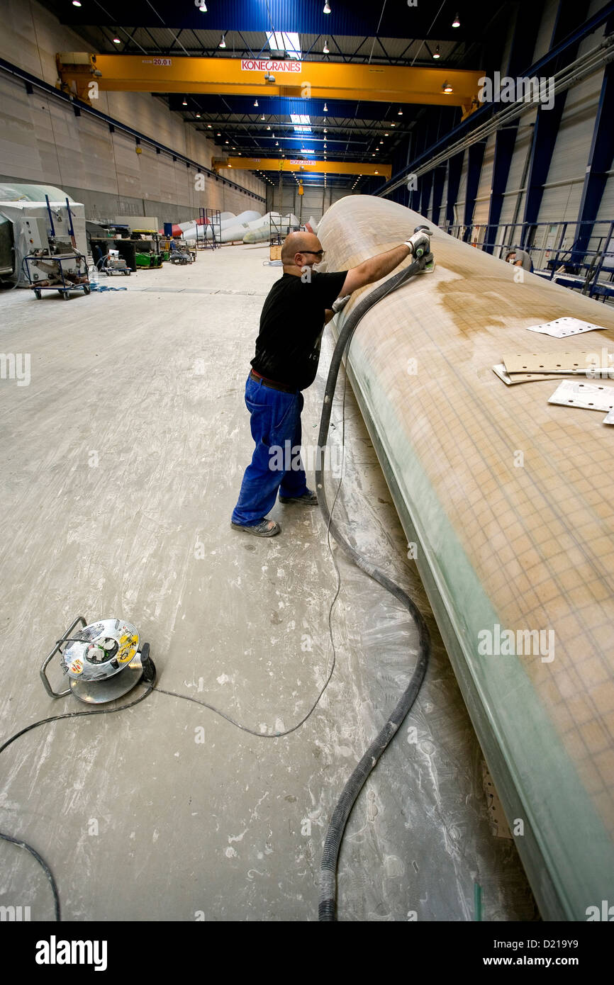Bremerhaven, Germany, grinding work on a rotor blade for wind turbines - Stock Image
