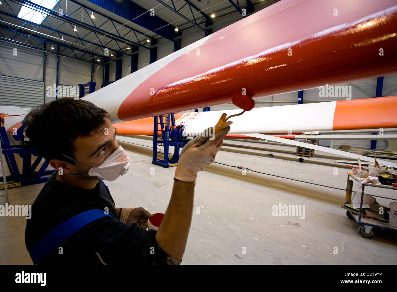Bremerhaven, Germany, for painting on a rotor blade wind turbines - Stock Image