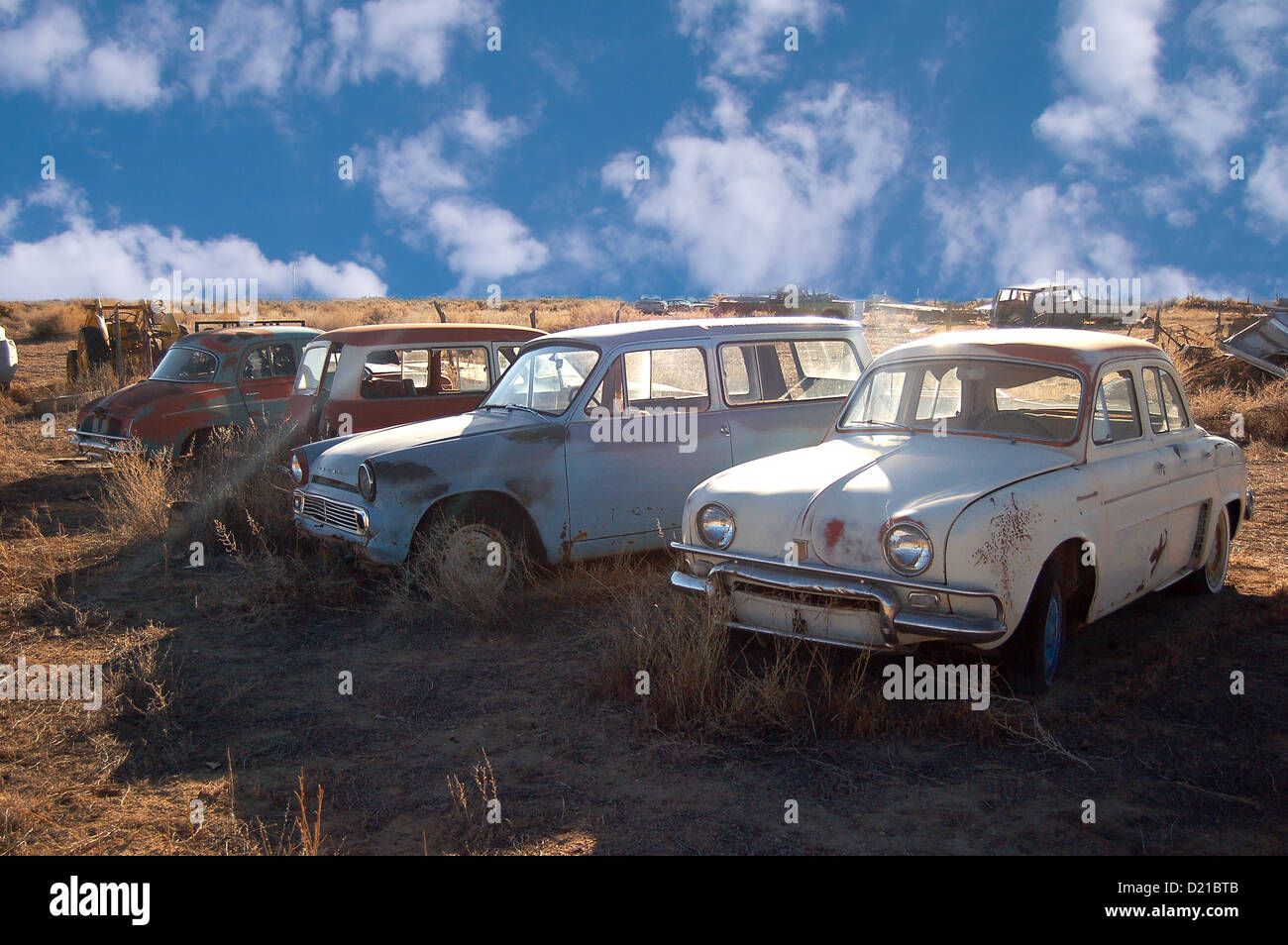 old junk yard cars on lot in ely,nevada,usa Stock Photo: 52891675 ...