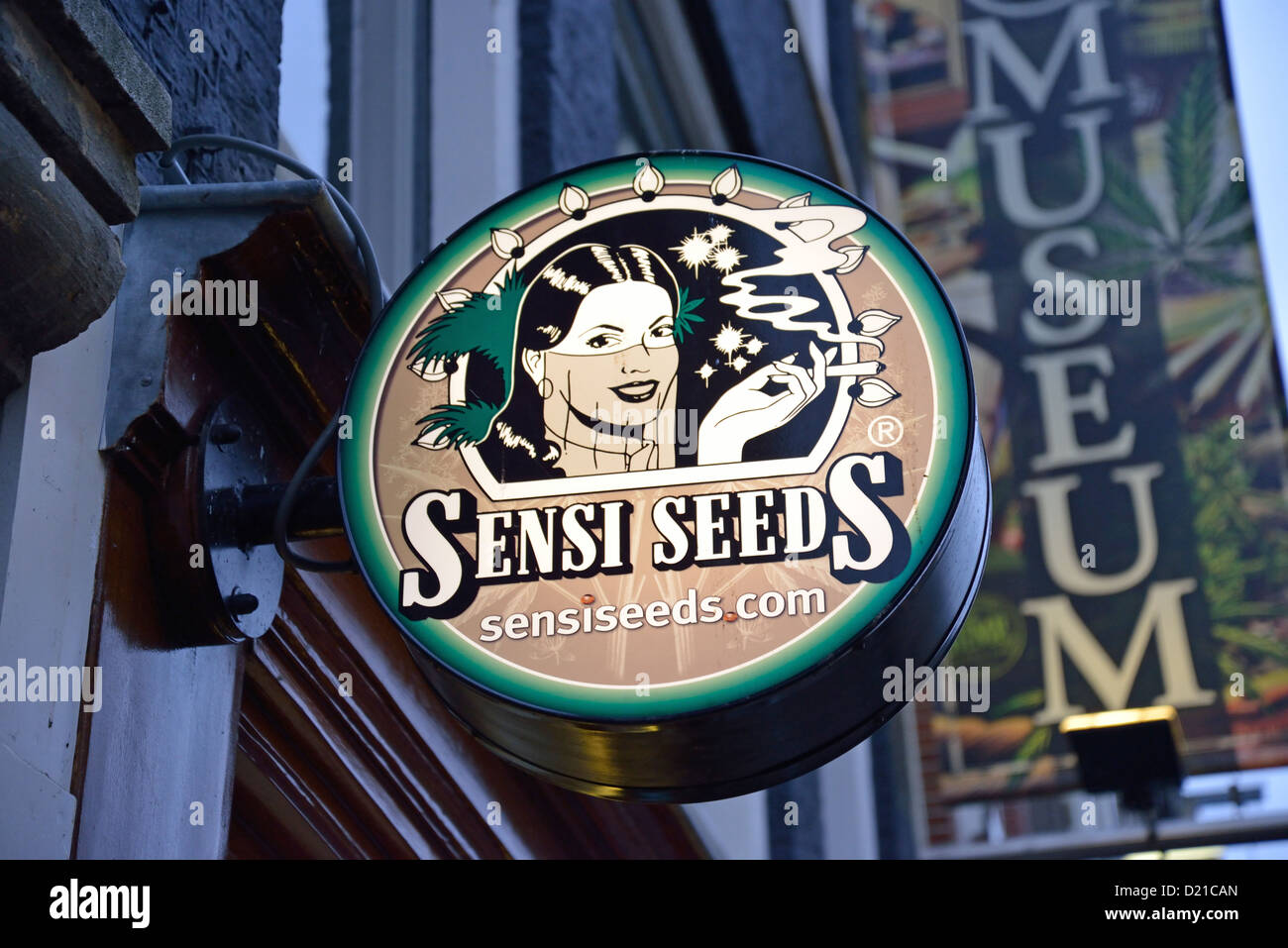 Sensiseeds' cannabis seed and cultivation shop sign in red