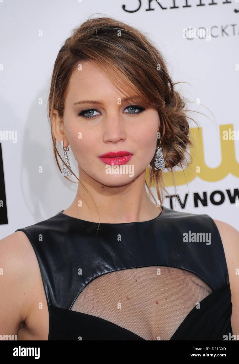 Jennifer Lawrence arrives at the 18th Annual Critics Choice film Awards in Santa Monica, California, USA, on January - Stock Image