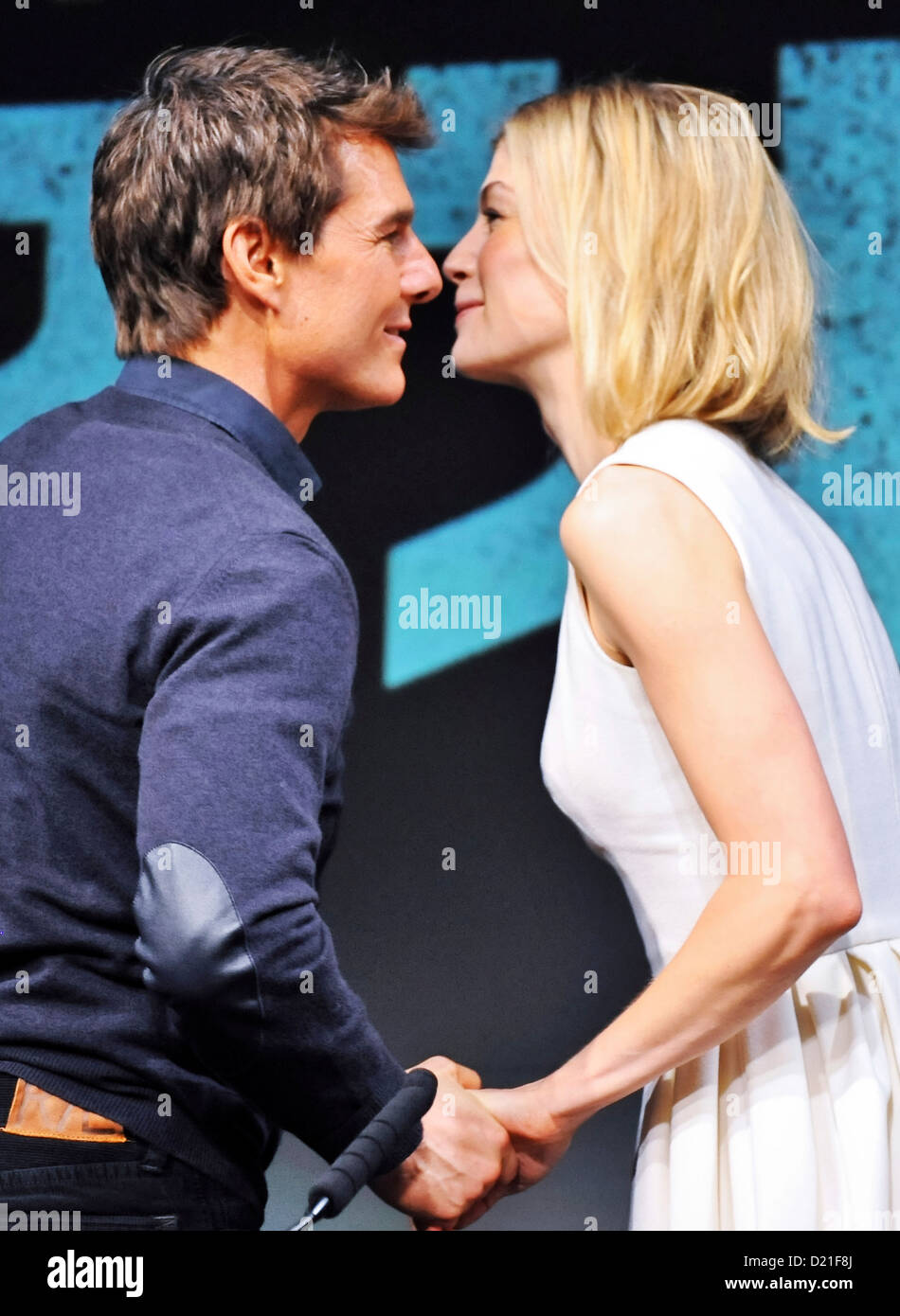 Actress Rosamund Pike and actor Tom Cruise attend the 'Jack Reacher' press conference at the Ritz Carlton - Stock Image