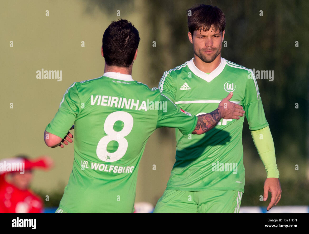 Wolfsburg's Vieirinha celebrates his 1-0 goal with Diego during the test match between VfLWolfsburg and - Stock Image