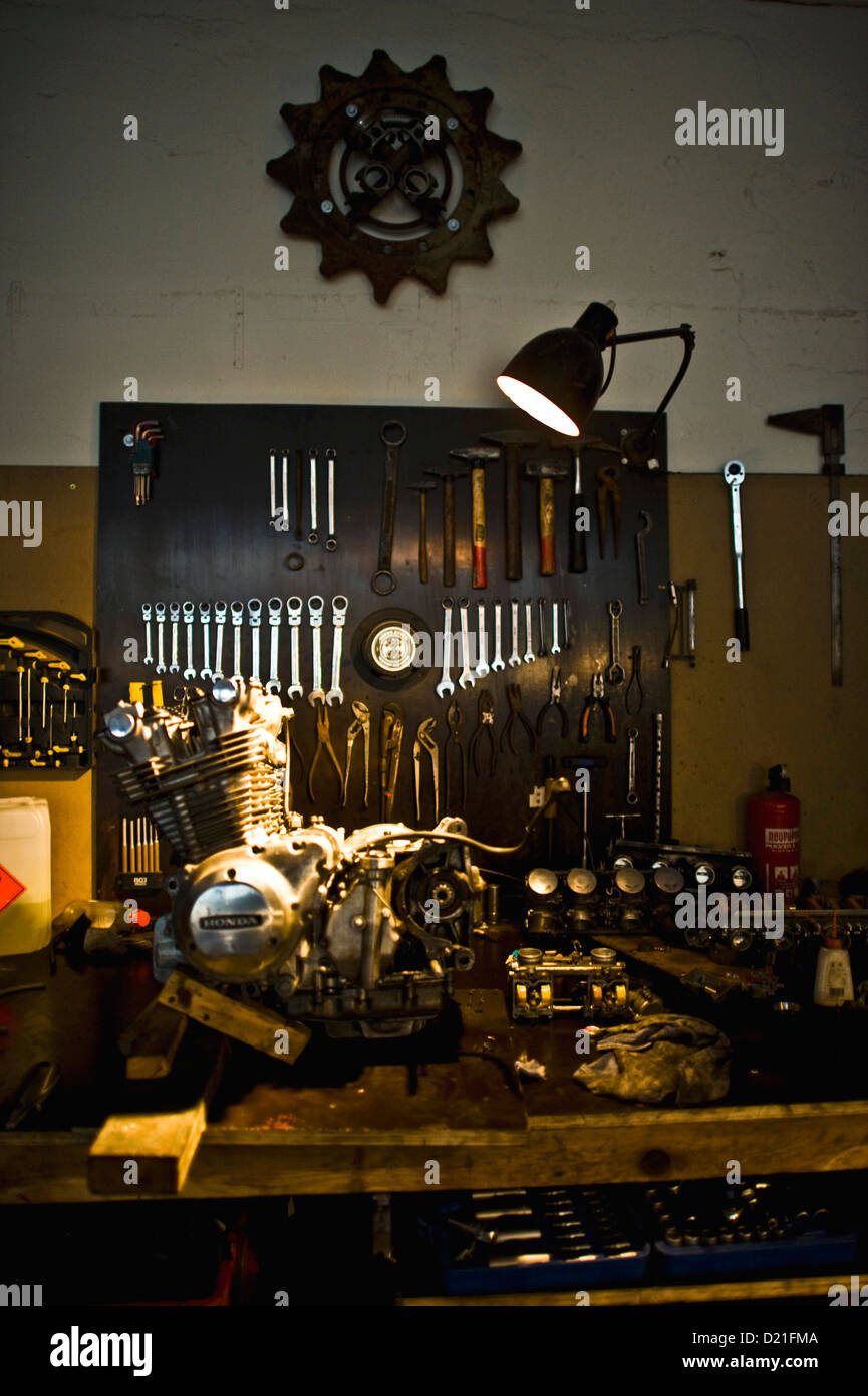 Tools are well ordered in the garage 'Dirty Bikes' in Dresden, Germany, 10 October 2013. Photo: Martin Foerster - Stock Image