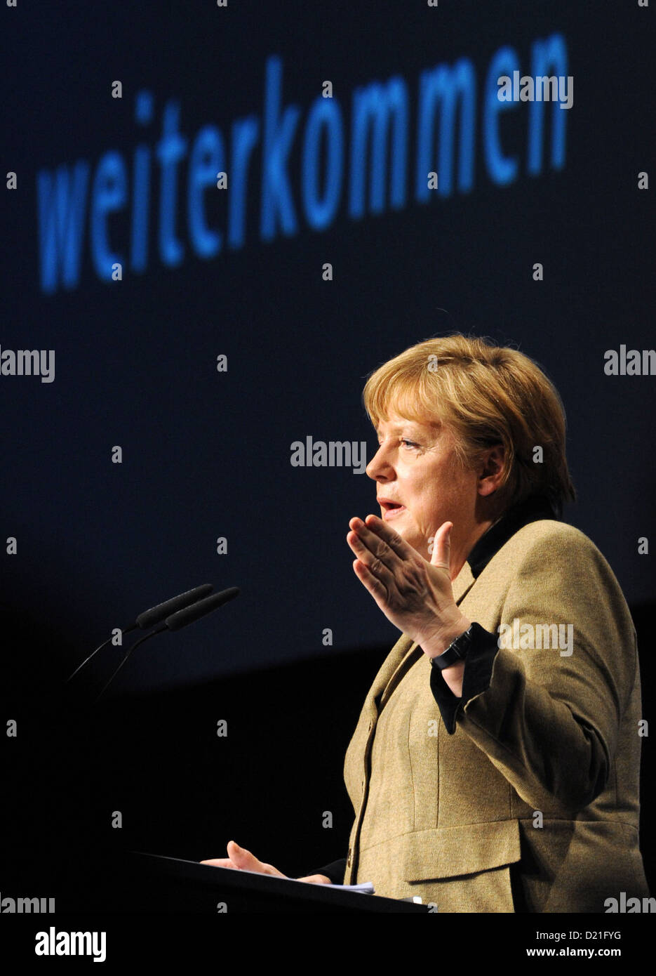 GermanChancellor Angela Merkel talks at the New Year's Reception at the Chamber of Commerce and Industry - Stock Image