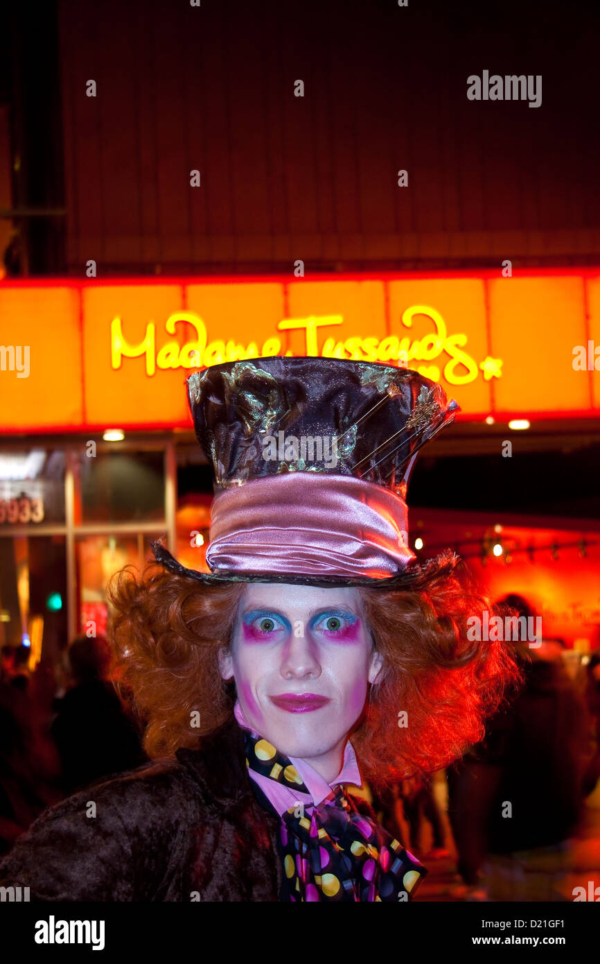 Mad Hatter movie character impersonator on Hollywood Blvd Hollywood Californioa - Stock Image