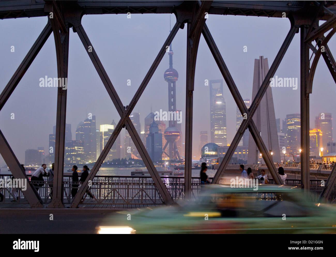 Waibaidu Bridge and skyline at night, Shanghai, China, Asia Stock Photo