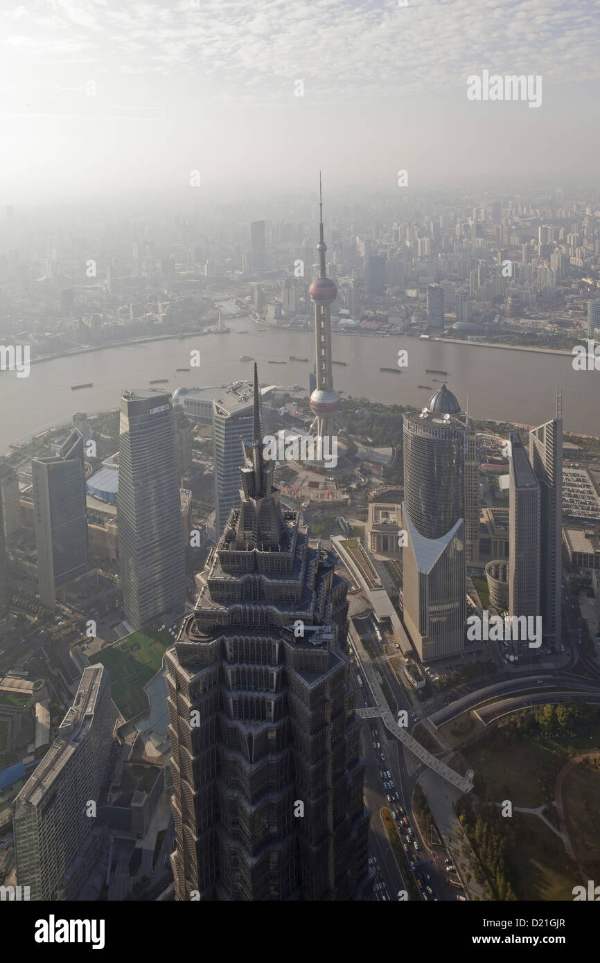 View from the observation deck of the Shanghai World Financial Center over city and Huangpu river, Pudong, Shanghai, - Stock Image