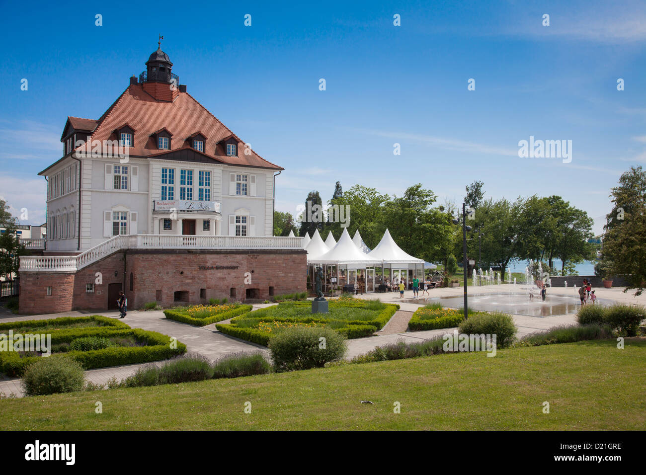 Restaurant inside of Villa Schmidt with fountain, Kehl, Baden-Wurttemberg, Germany, Europe - Stock Image
