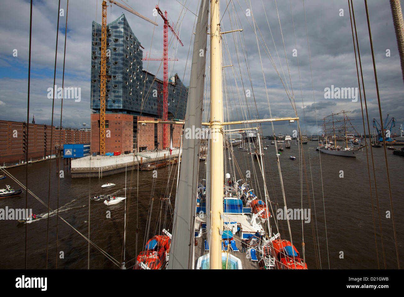 View from mast of sailing cruise ship Star Flyer on Elbe river as part of Hamburg harbour birthday celebrations Stock Photo