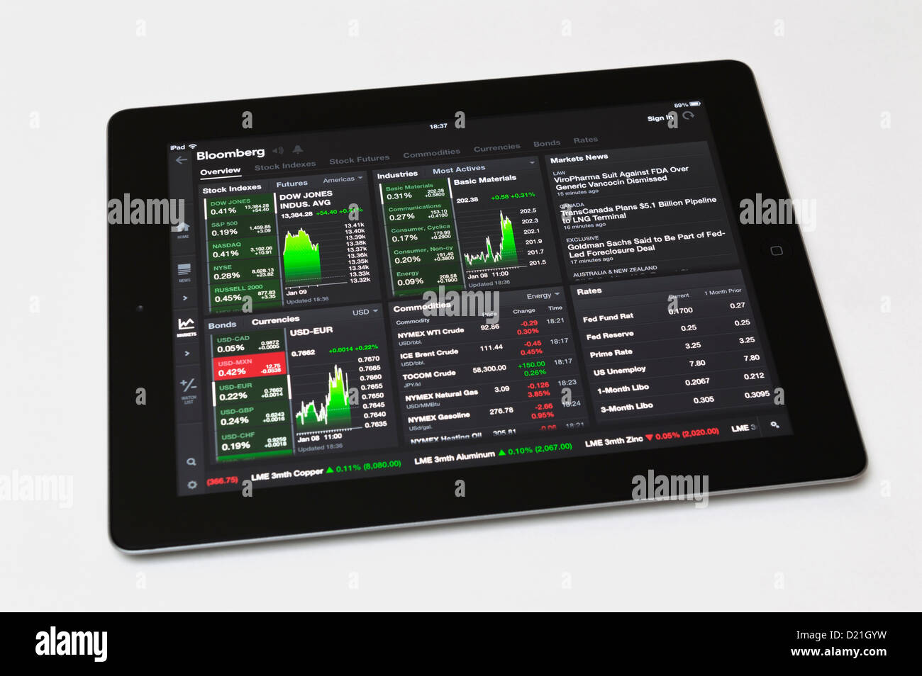 Bloomberg app on Apple iPad tablet showing live stock market
