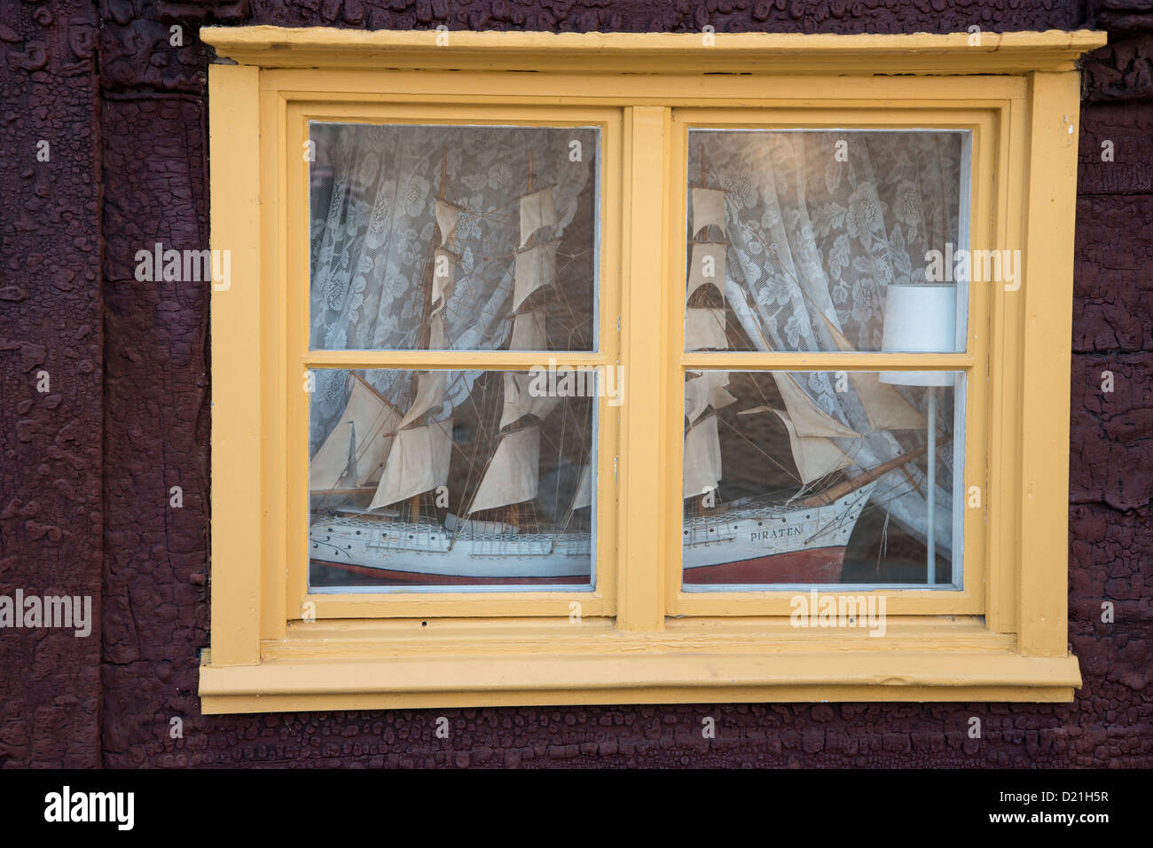 Model of sailing ship in a window, Visby, Gotland, Sweden, Europe - Stock Image