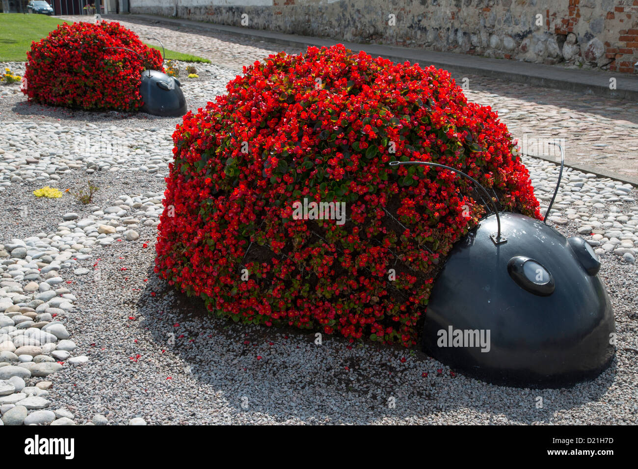 Ladybug flower planters, Ventspils, Latvia, Baltic States, Europe - Stock Image