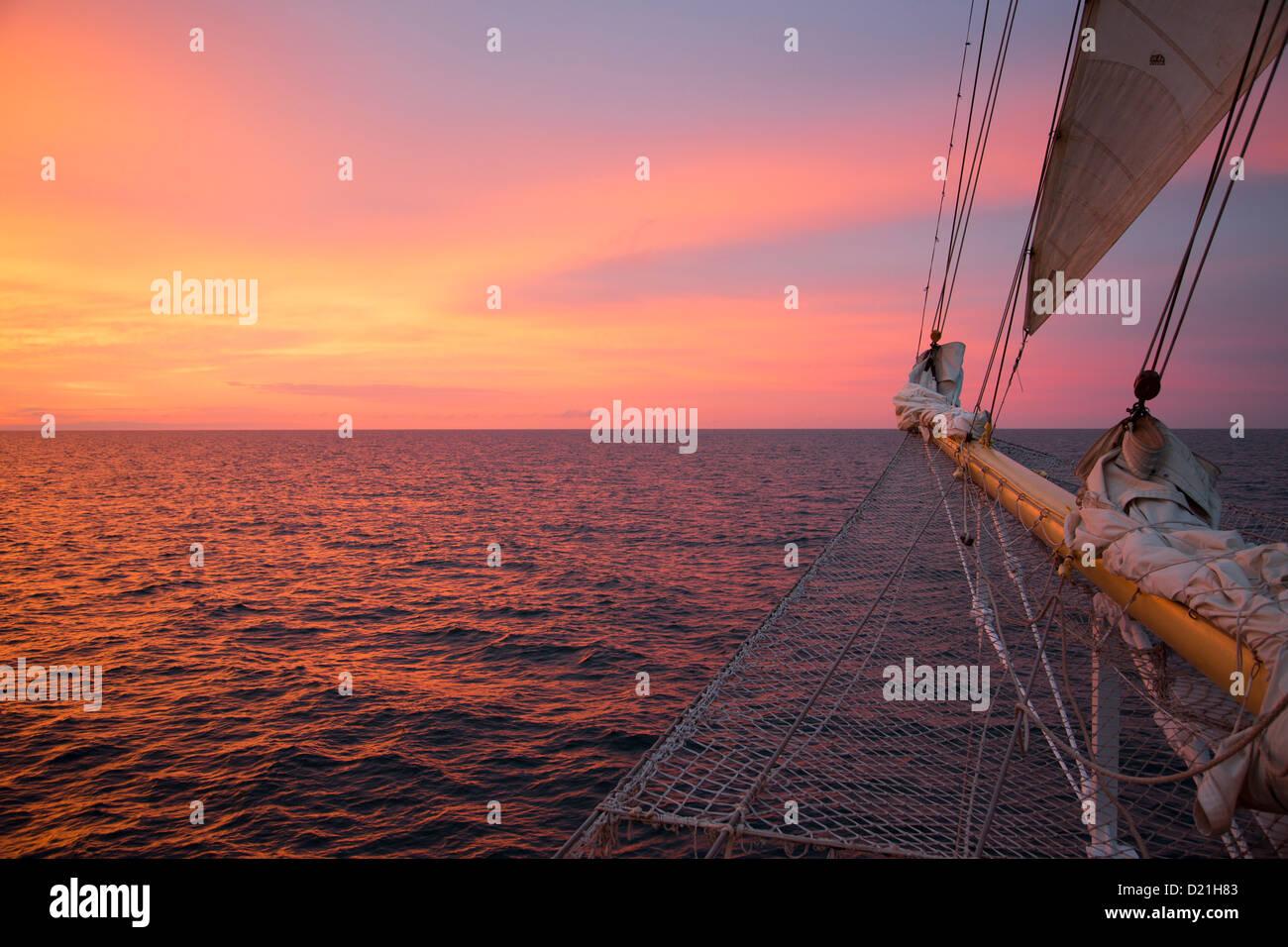 Bowsprit net of sailing cruise ship Star Flyer at sunset, Baltic Sea, Latvia, Baltic States, Europe Stock Photo