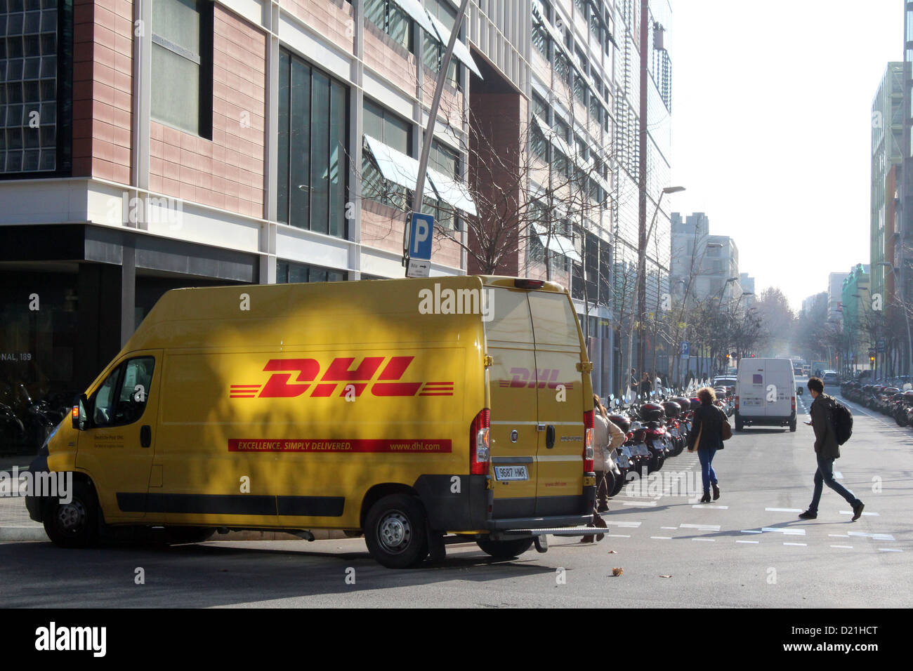 cf6c8e2db5cfca DHL delivery van parked in Barcelona Stock Photo  52896056 - Alamy