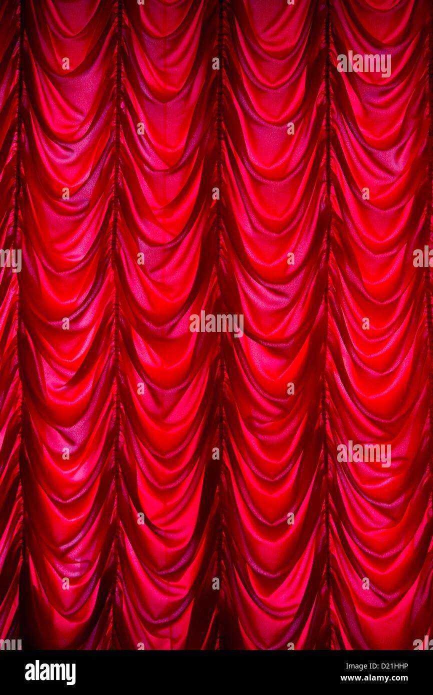 Red curtain in Catherine Palace, Tsarskoye Selo, Pushkin, St. Petersburg, Russia, Europe - Stock Image