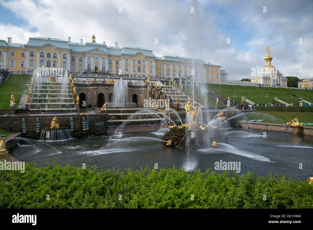 Grand Cascade fountains at Peterhof Palace (Petrodvorets), St. Petersburg, Russia, Europe Stock Photo