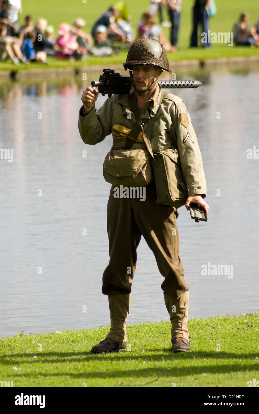 A WW2 American soldier in a modern day reenactment. - Stock Image