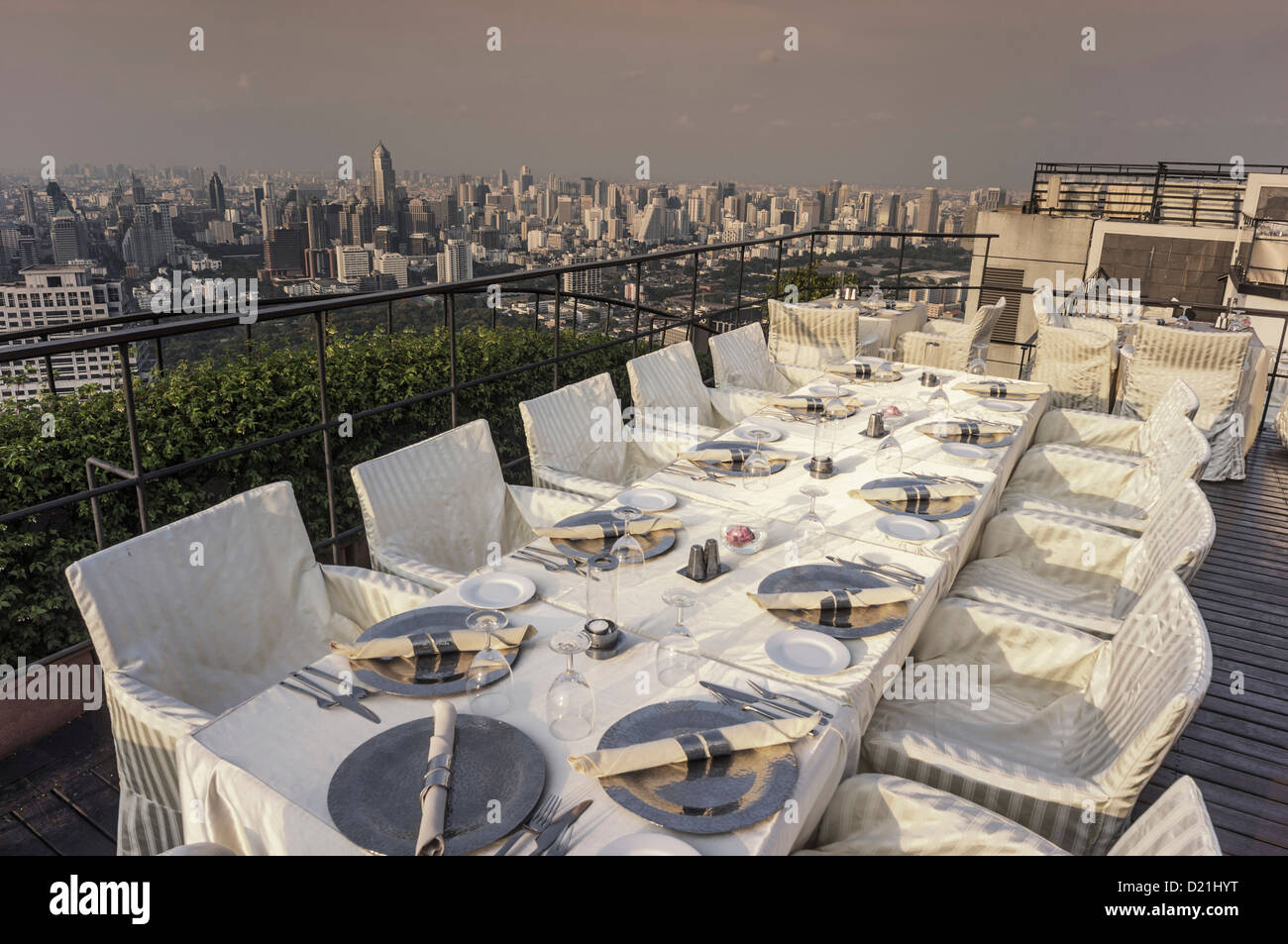 Roof terrace of the Banyan Tree Hotel, Vertigo Bar Restaurant and Moon Bar, Bangkok, Thailand - Stock Image
