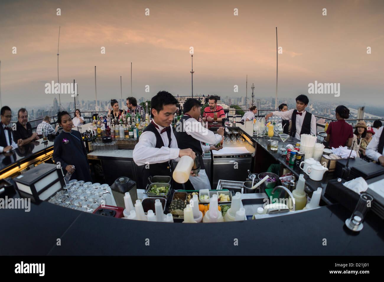 Rooftop of the Banyan Tree Hotel, Vertigo Bar Restaurant and Moon Bar, Bangkok, Thailand - Stock Image