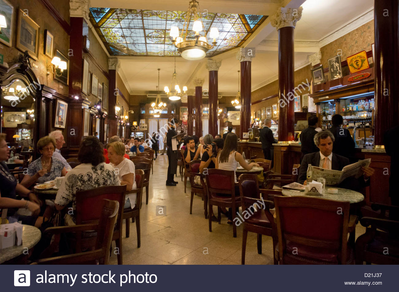 Interior design of the Cafe Tortoni, Avenida de Mayo, since 1958, Buenos Aires, Argentina - Stock Image