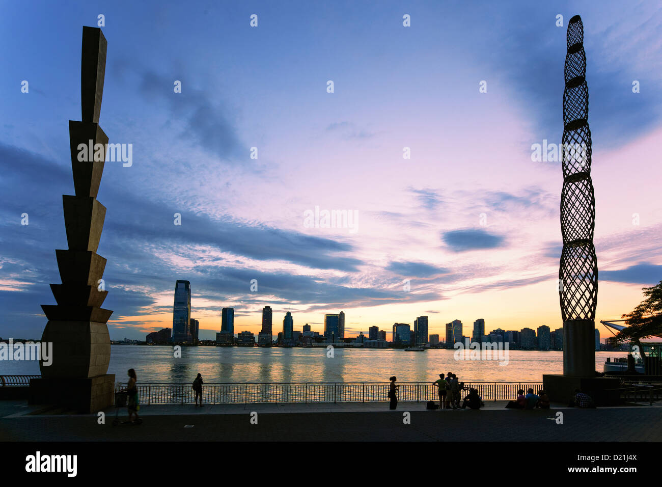 Pylons by Martin Puryear, View from Battery Park to Skyline of New Jersey at Sunset, Belvedere, Winter Garden, Hudson - Stock Image