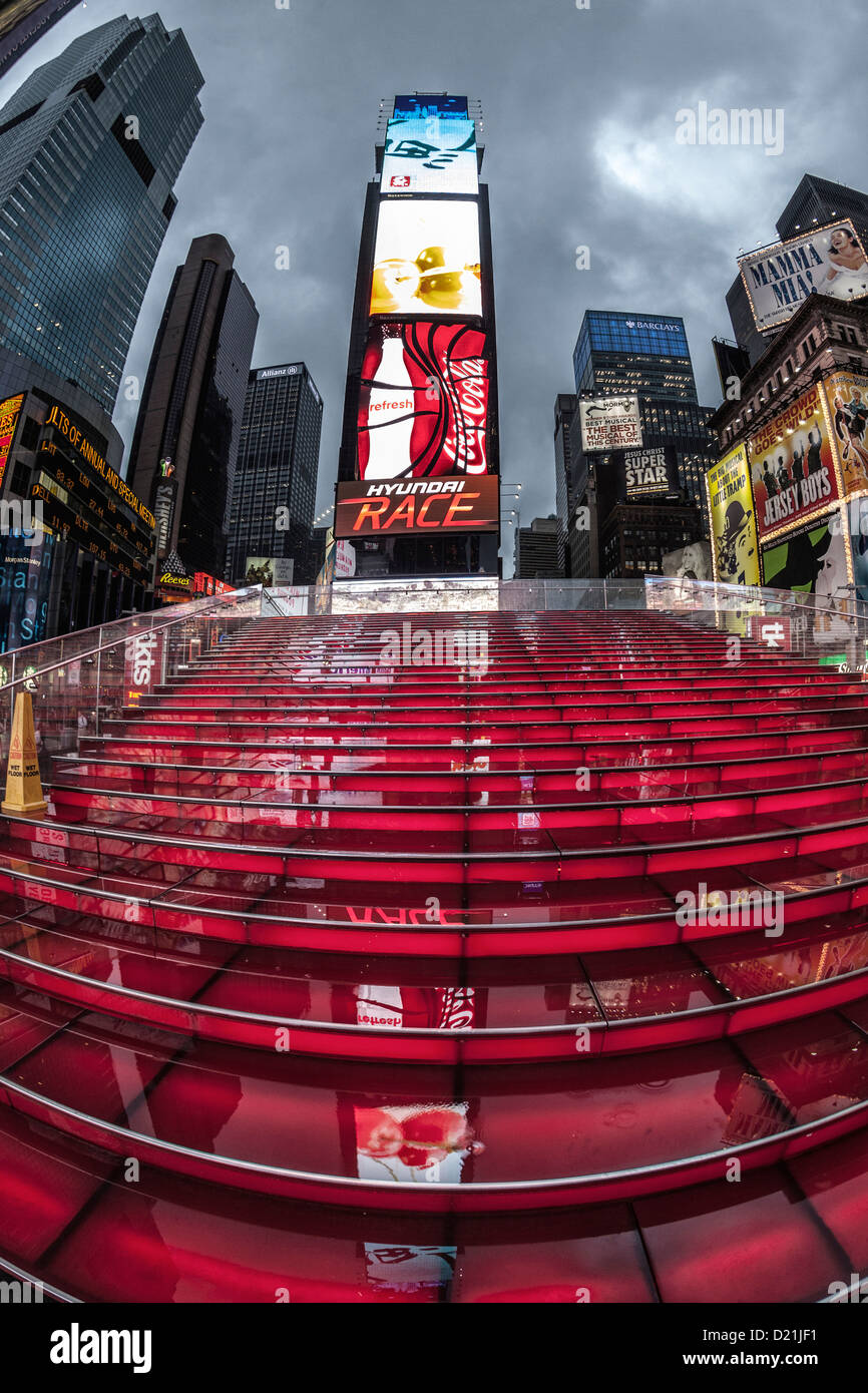 Times Square at twilight on a rainy day in New York - Stock Image