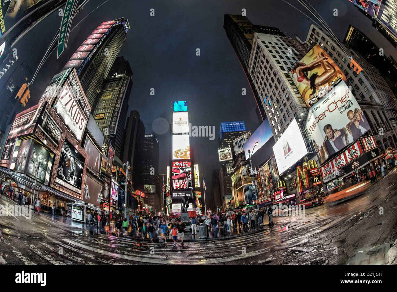Times Square at twilight on a rainy day, Broadway, Manhattan, New York City, New York, USA - Stock Image