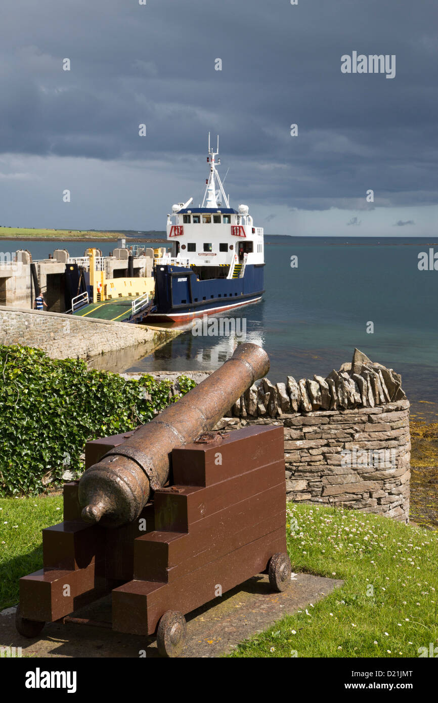 Old cannon and vehicular ferry from Shapinsay Island to Kirkwall, Shapinsay Island, Orkney Islands, Scotland, United - Stock Image