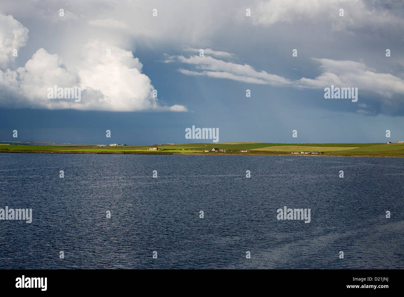 Coastline and storm clouds, Kirkwall, Orkney Islands, Scotland, United Kingdom - Stock Image