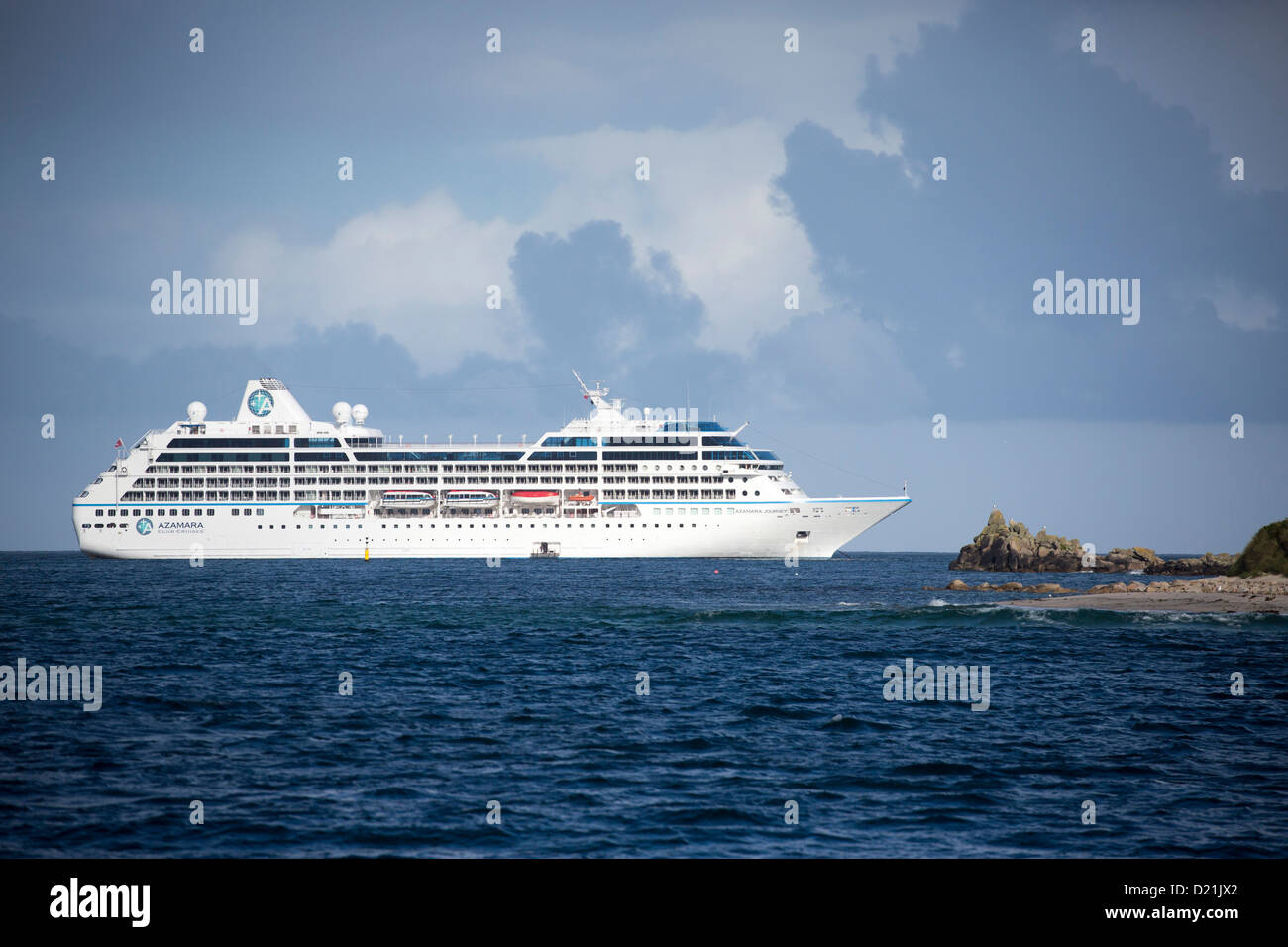 Cruise ship Azamara Journey, Azamara Club Cruises, Near St Marys, Isles of Scilly, Cornwall, England - Stock Image
