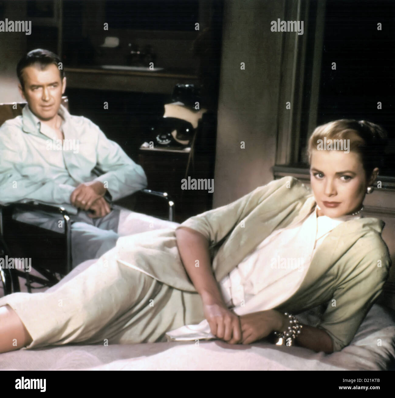 REAR WINDOW 1954 Paramount Pictures film directed by Alfred Hitchcock with James Stewart and Grace Kelly - Stock Image