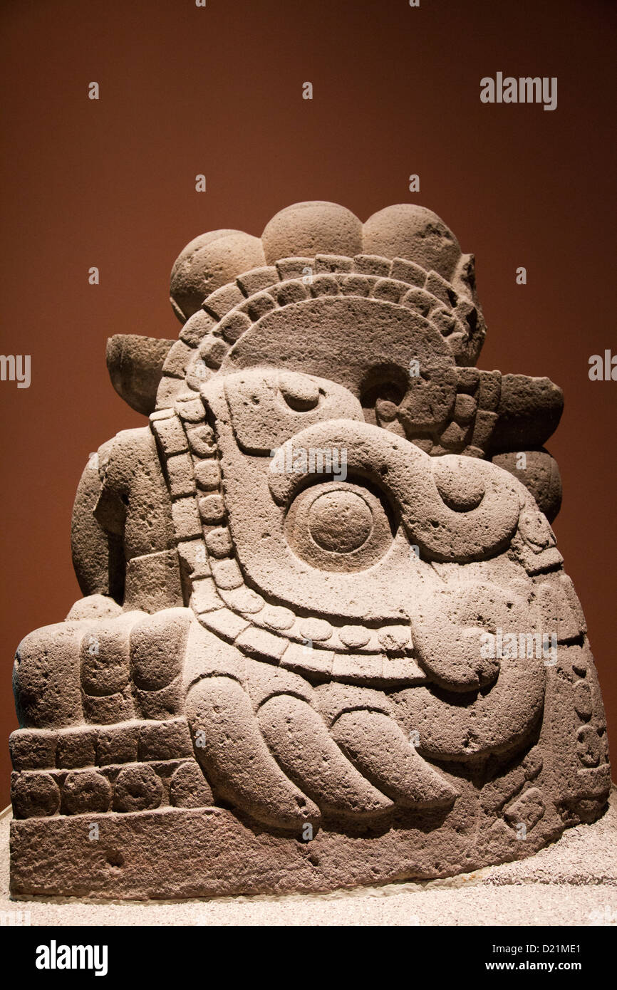 Museo Nacional De Antrolopogia in Mexico City DF - Xiucoatl Fire Serpent Stone Carving - Stock Image