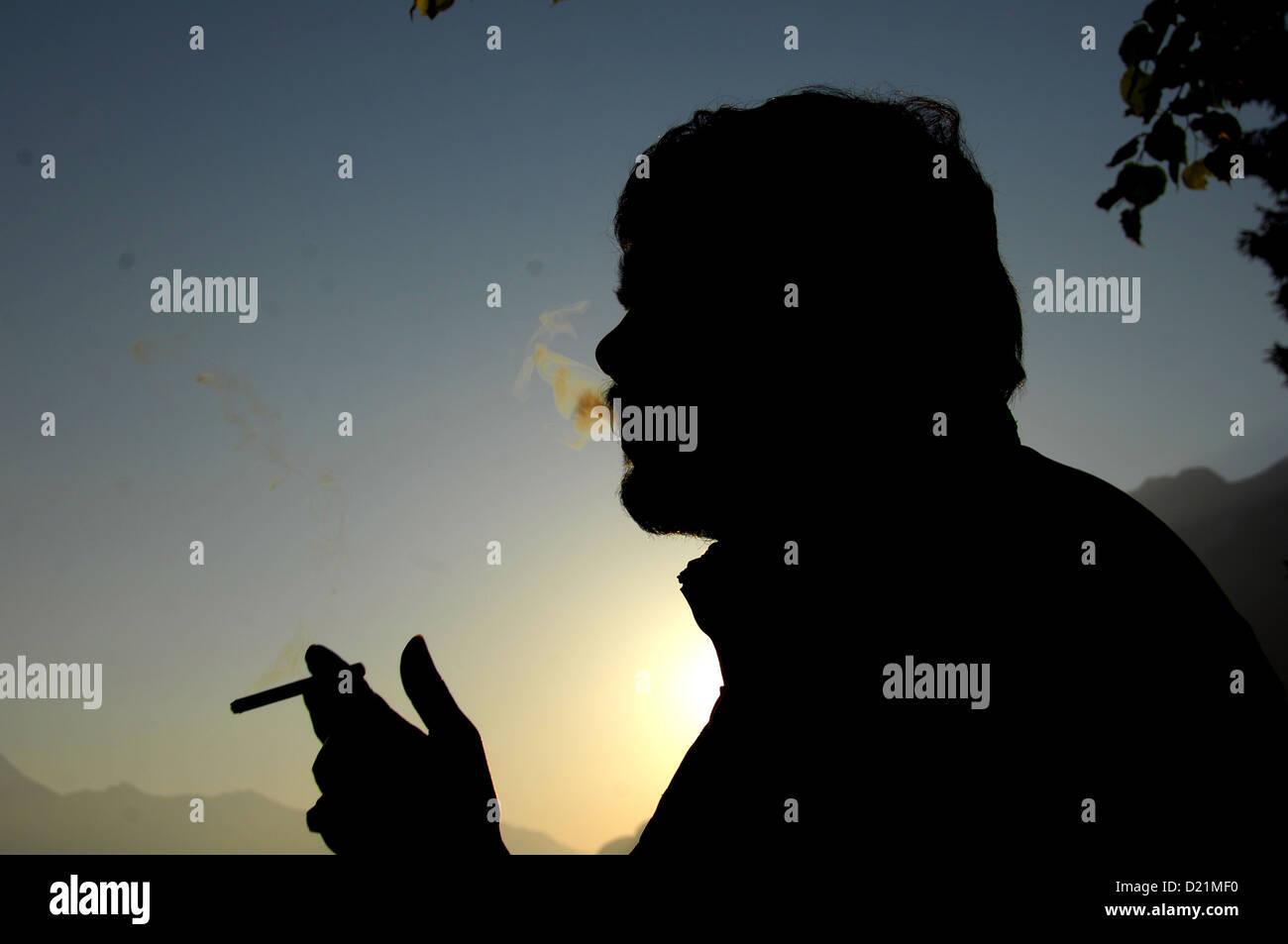closeup shot of smoker - Stock Image