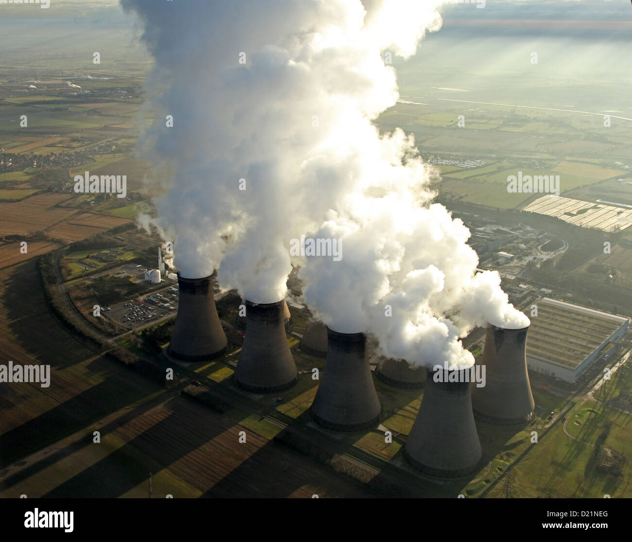 aerial view of Eggborough Power Station in Yorkshire - Stock Image