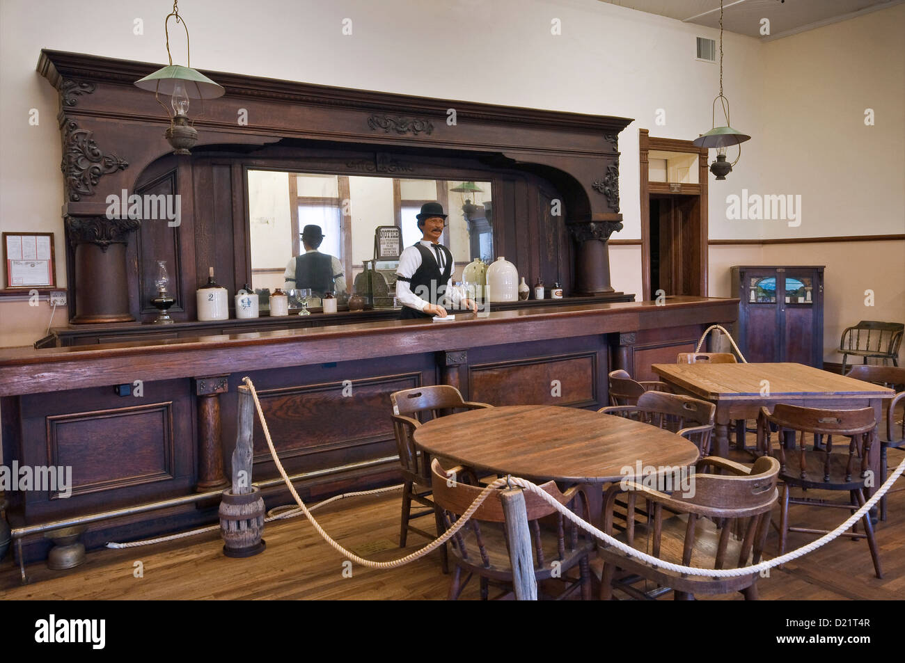 The original 1896 Orient Hotel Saloon at West of the Pecos Museum in Pecos, Texas, USA - Stock Image