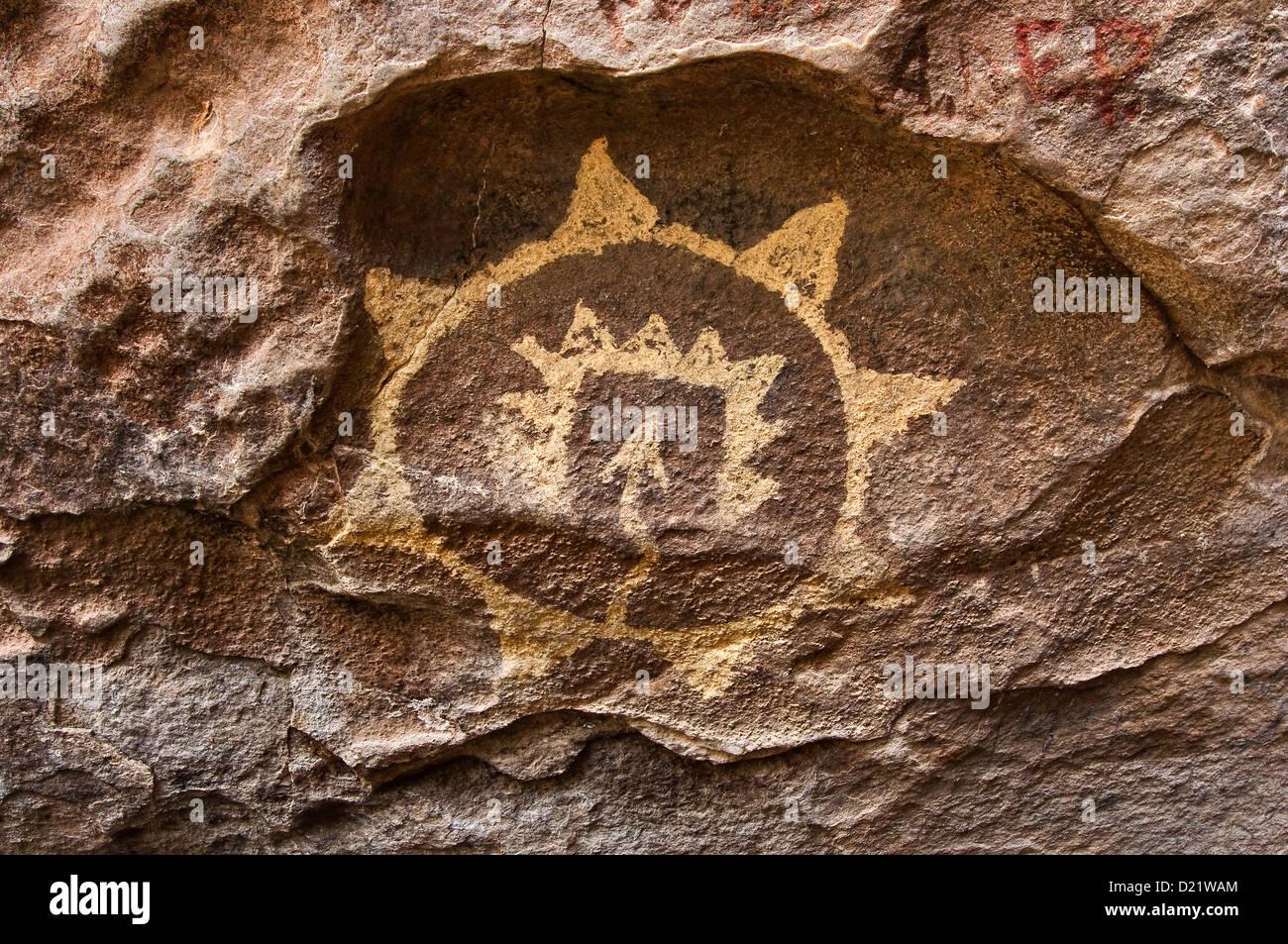 Mescalero Apache pictograph, Hueco Tanks State Park and Historic Site, near El Paso, Texas, USA - Stock Image