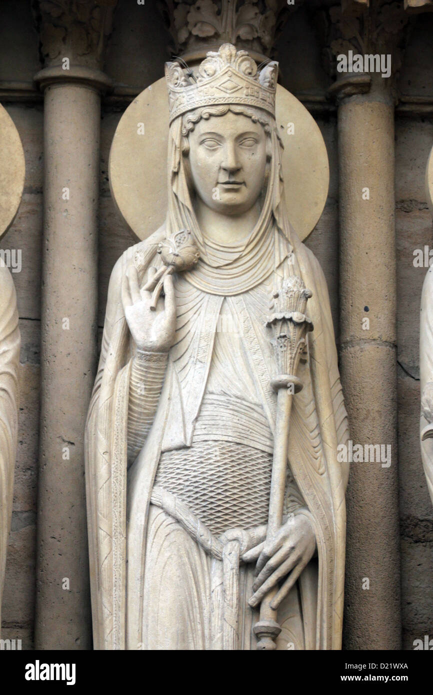Queen of Sheba, Notre Dame Cathedral, Paris, Portal of St. Anne Stock Photo